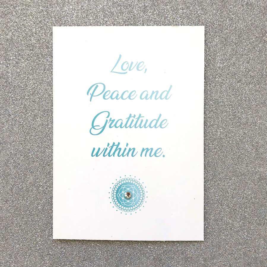 Affirmationskarte Love Peace and Gratitude within me von MandalArt Portugal