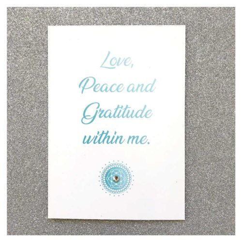 Affirmationskarte Love Peace and Gratitude within me
