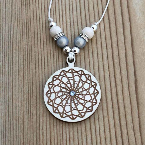 Mandala Pendant Wood with Swarovski Cristalls Handmade in Portugal