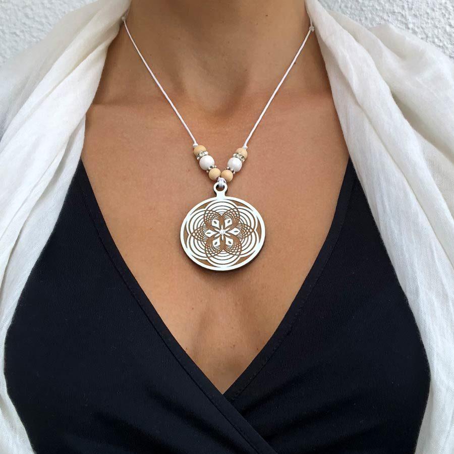 Mandala Kette Holz Sacred Geometry 45 mm