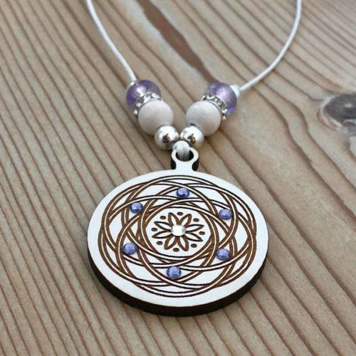 Mandala Pendant Wood with Swarovski Crystal Handmade in Portugal