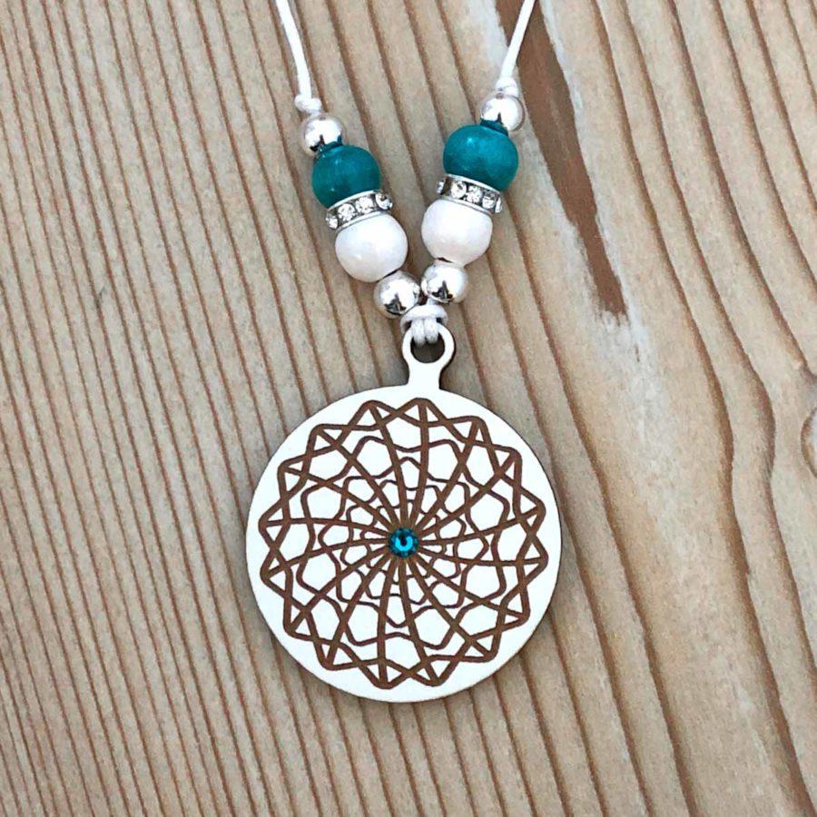 Flow of Life - Mandala Pendant Wood with Swarovski Crystal Handmade in Portugal