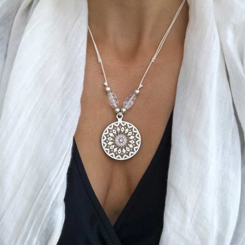 Mandala Holzschmuck mit Swarovski Kristall handgefertigt